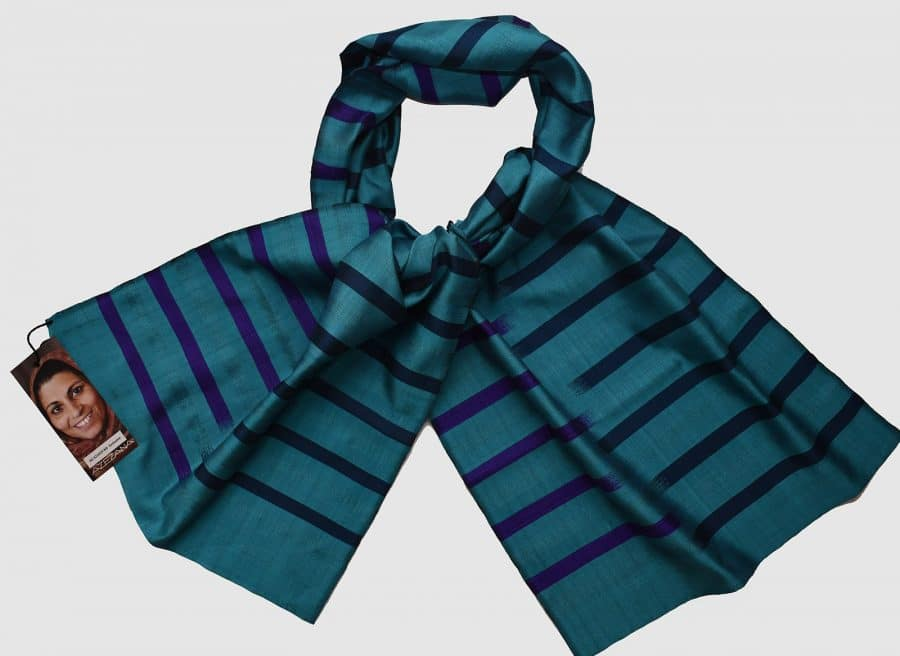 Handmade Silk Scarf Turquoise Natural Dyes