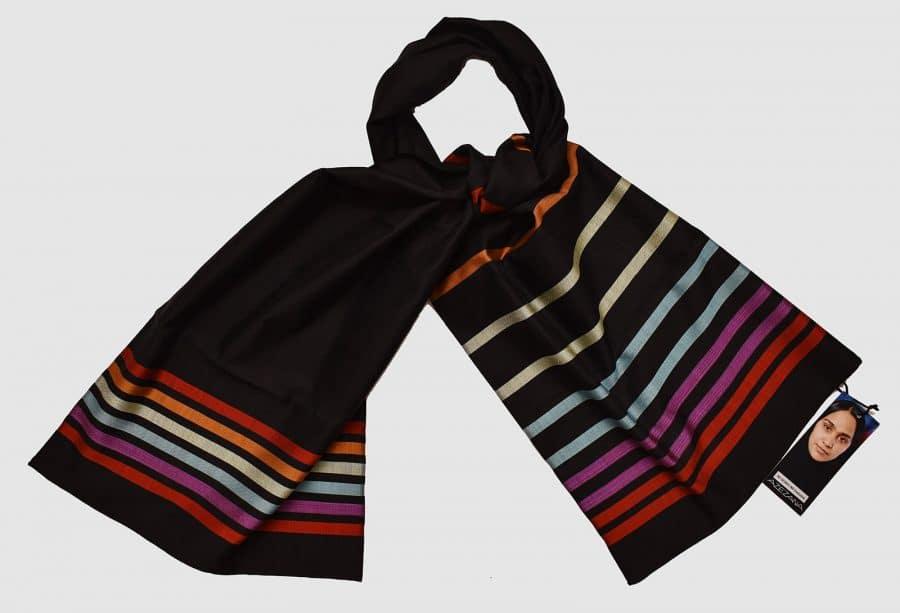 Handmade Silk Scarf Black Elegant Natural Dyes
