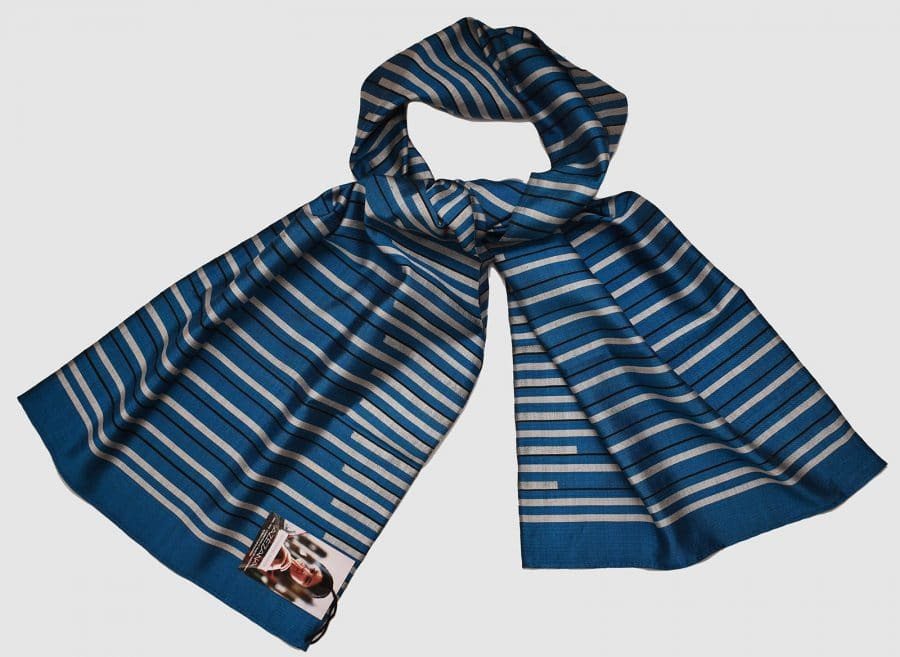 Handmade Silk Scarf Blue Silver Natural Dyes