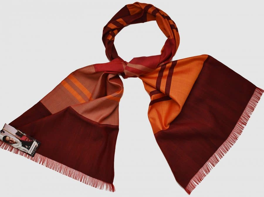 Handmade Silk Scarf Red and Orange Natural Dyes