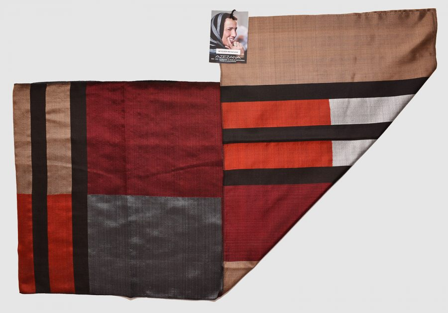 Handmade Silk Scarf Brown Red Natural Dyes