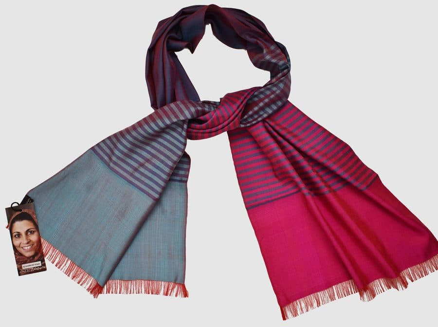Handmade Silk Scarf Magenta and Blue Natural Dyes