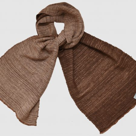 Handmade Cashmere Silk Scarf Brown White Natural Dyes