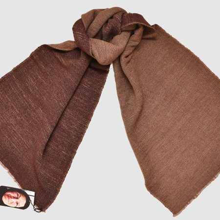 Handmade Cashmere Silk Scarf Brown Red Natural Dyes