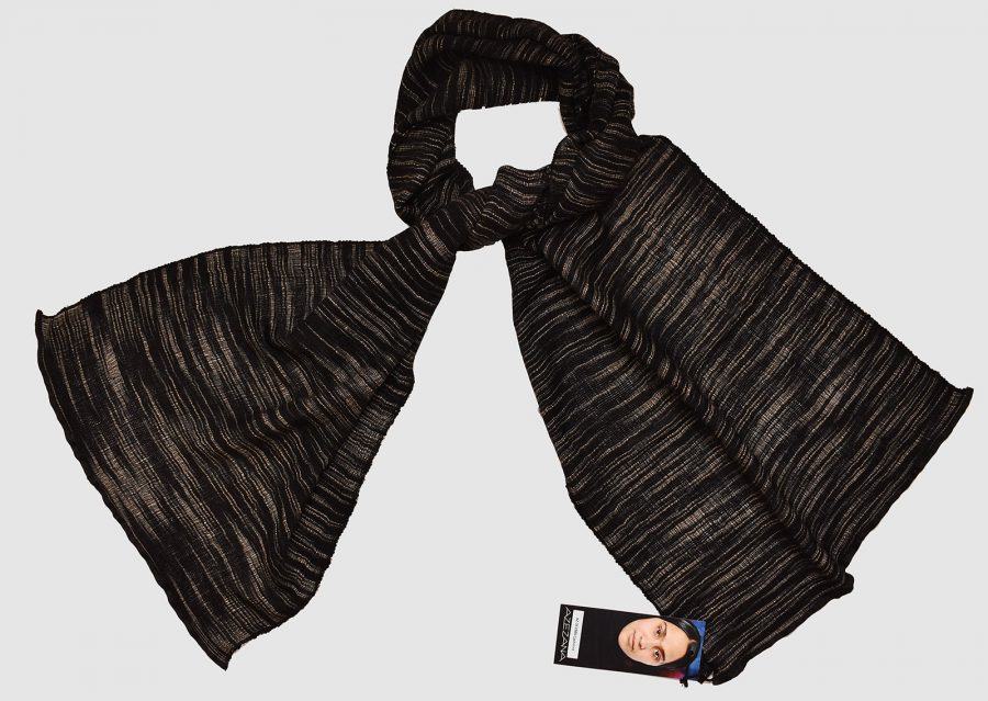 Handmade Cashmere Silk Scarf Black Natural Dyes