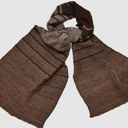 Handmade Cashmere Silk Scarf Dark Brown Natural Dyes