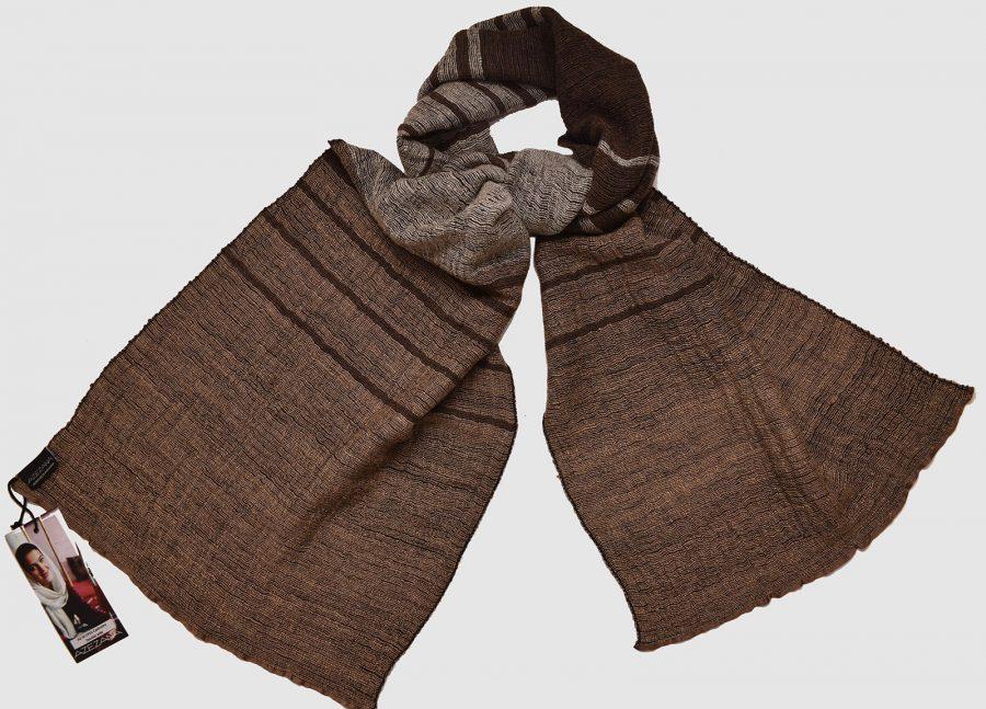 Handmade Cashmere Silk Scarf Dark Brown Natural Dyes
